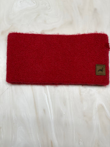 HEADBAND ALPACA  cherry red*