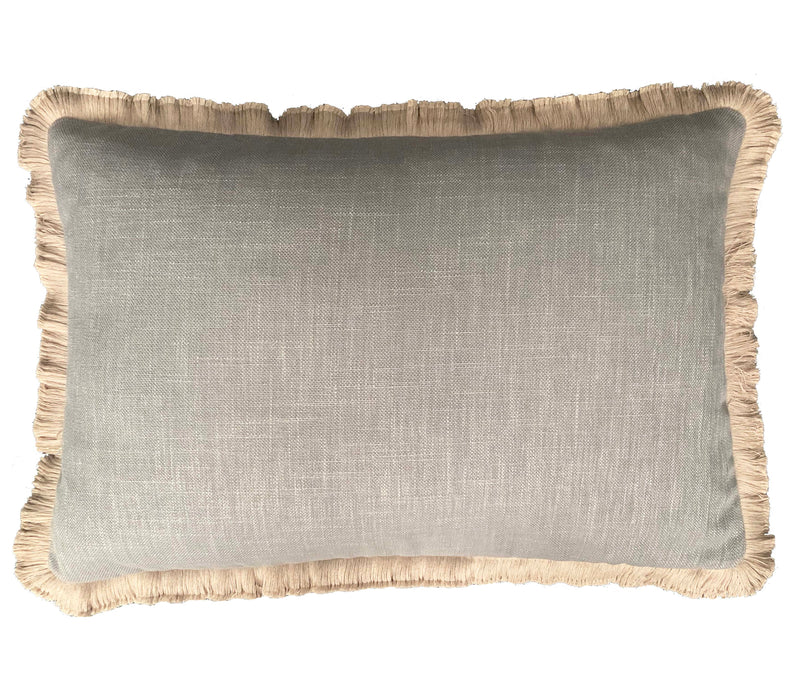 Grey Linen Natural Fringe - Luxe and Beau Designs