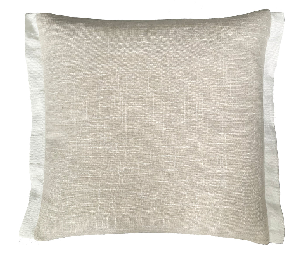 Taupe Linen Blend Cushions With White Piping