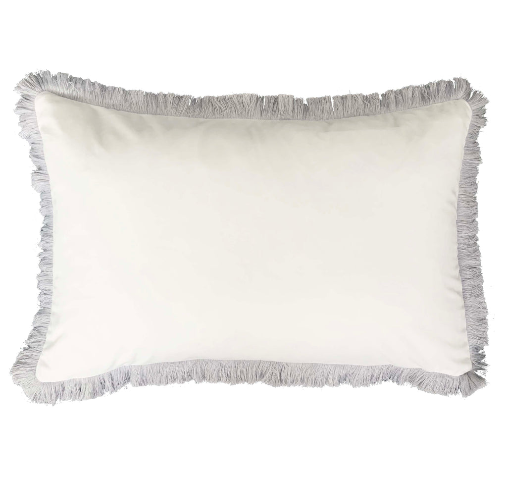White Velvet Grey Fringe - Luxe and Beau Designs
