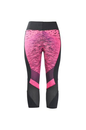 Fashion Ladies Black and Pink with design Leggings mesh dots Panels Stretchy yoga and workout