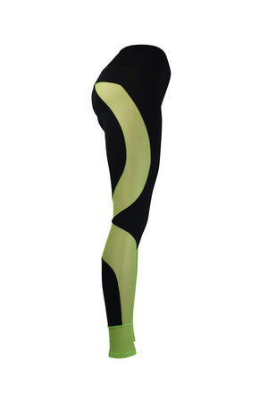 Fashion Ladies Black Leggings with Long Green Panels Stretchy yoga and workout