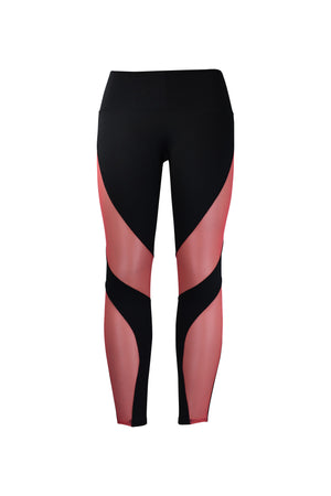 Fashion Ladies Black Leggings with Long Pink Panels Stretchy yoga and workout