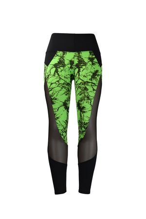 Fashion Ladies Black & Green splatter design Legging with Long Mesh Panels Stretchy yoga and workout