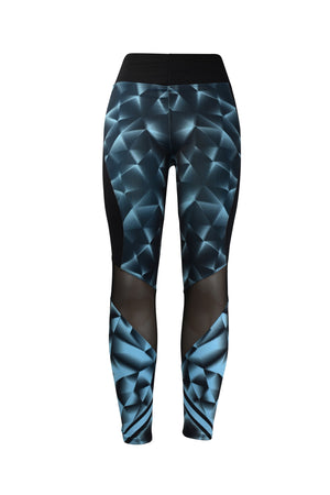 Fashion Ladies Black and Blue Diamonds design Leggings Black mesh Panels Stretchy yoga and workout