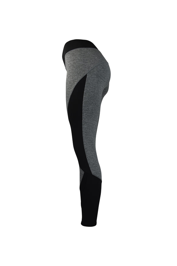 Fashion Ladies All Grey Leggings Long Black Panels Stretchy yoga and workout