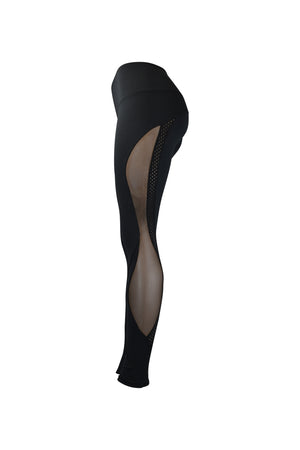 Fashion Ladies All Black Leggings Long Mesh Panels Stretchy yoga and workout