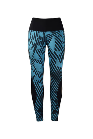 Fashion Ladies Black & Blue triangle design Legging Long Black mesh Panels Stretchy yoga and workout