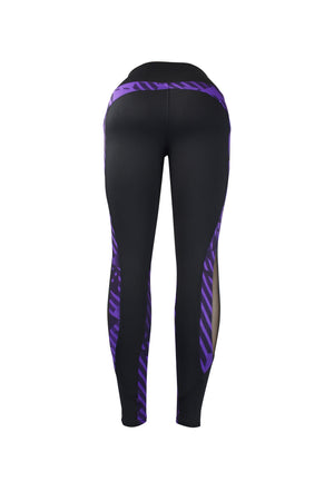 Fashion Ladies Black & Purple triangle design Legging Long Black mesh Panels Stretchy yoga & workout