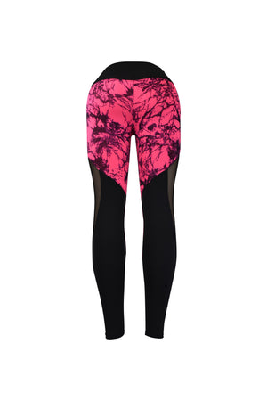 Fashion Ladies Black & Pink splatter design Leggings with Long Mesh Panels Stretchy yoga and workout