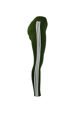 Fashion Ladies Green Leggings with white stripes yoga and workout