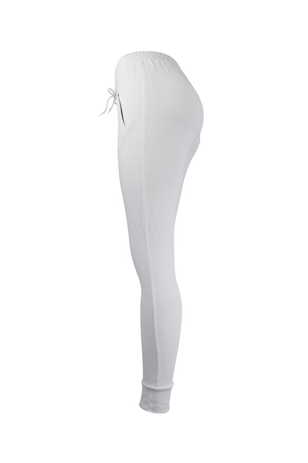Fashion Ladies White Jogger/Leggings With Zipper Pockets yoga and workout