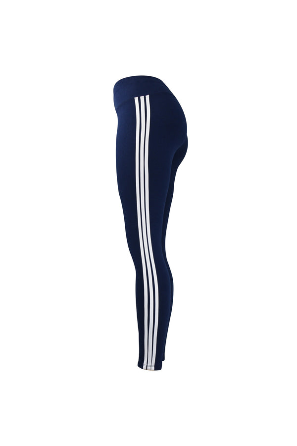 Fashion Ladies Blue Leggings with white stripes yoga and workout