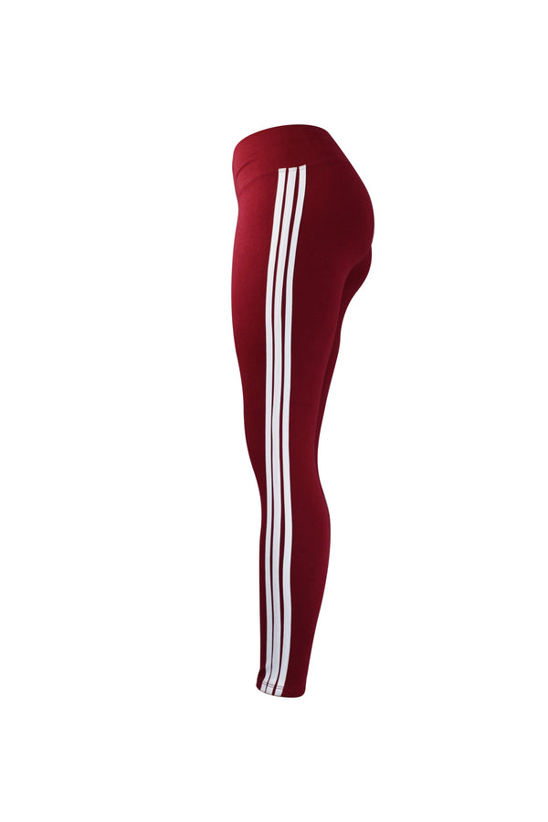 Fashion Ladies Red Leggings with white stripes yoga and workout