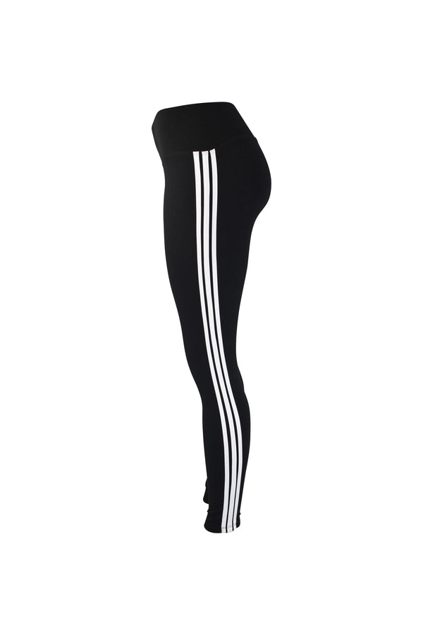 Fashion Ladies Black Leggings with white stripes yoga and workout