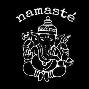 White design Lord Ganesh Namastè Stamped Shirt
