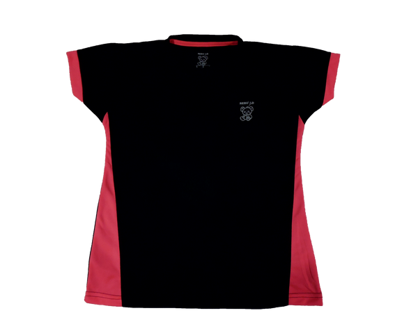 Ladies Short Sleeve T-Shirt Black and Hot Pink