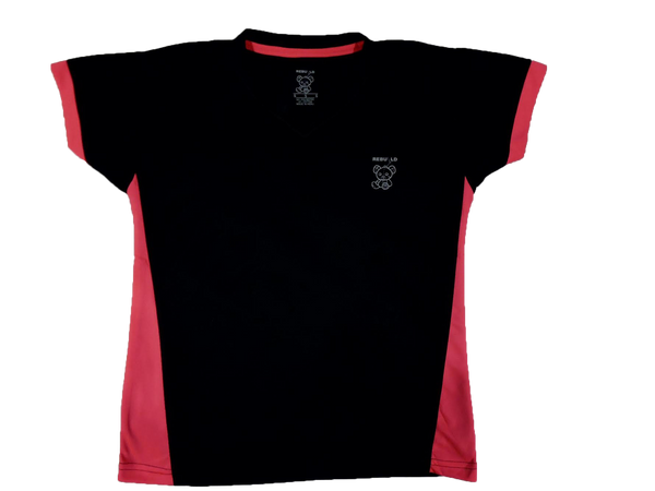 Ladies Short Sleeve T-Shirt V-Neck Black and Hot Pink