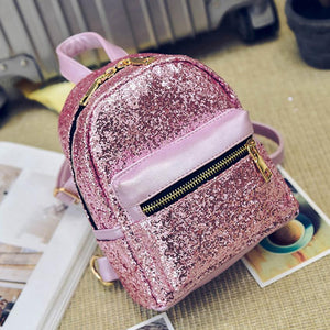 Backpack Leather School mini backpacks for girls Sequins Backpack for Ladies