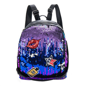 Bling patches and Sequins Paillette Backpack