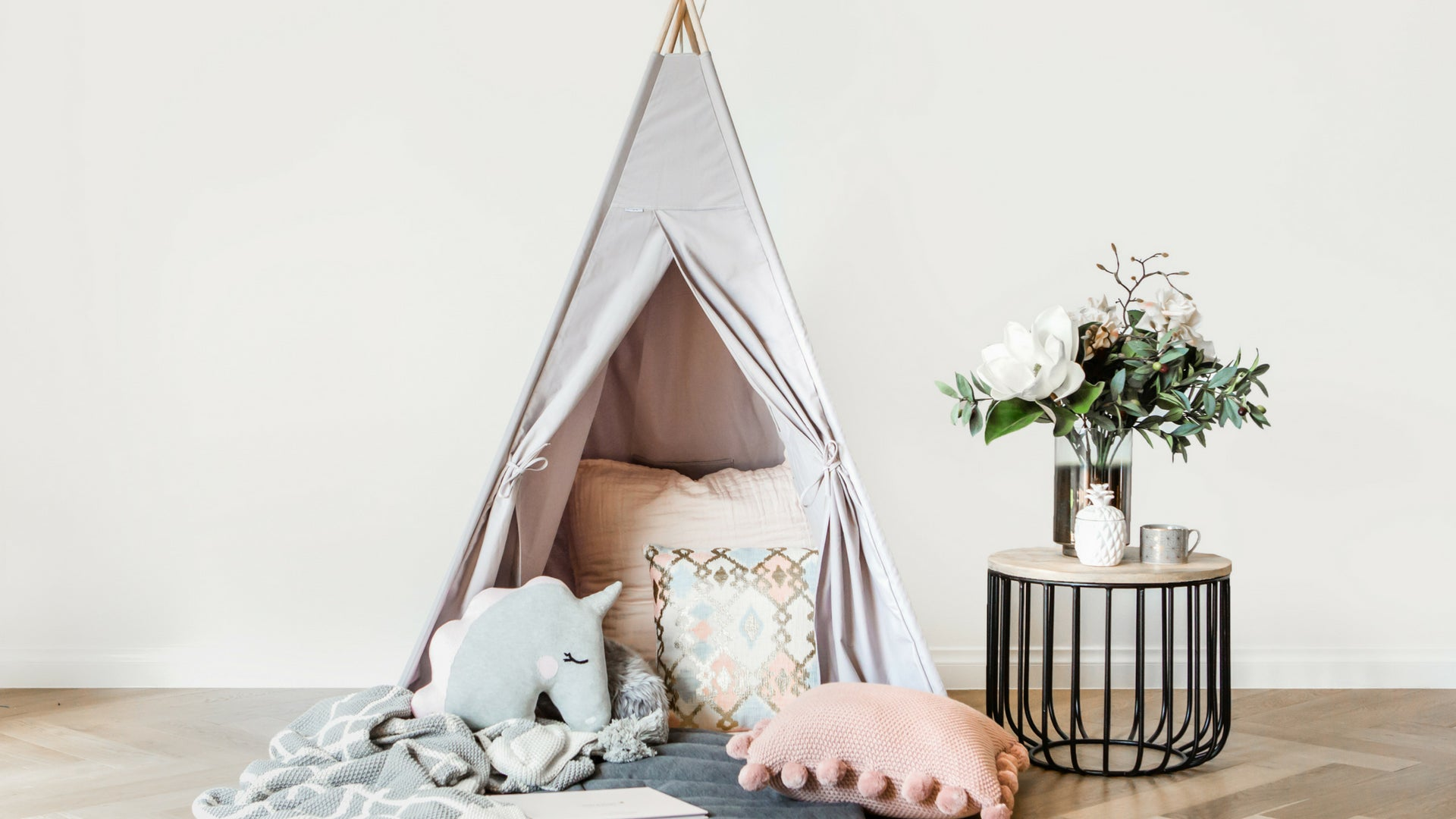 Kids Grey Teepee Tent Birthday Gift Cattywampus