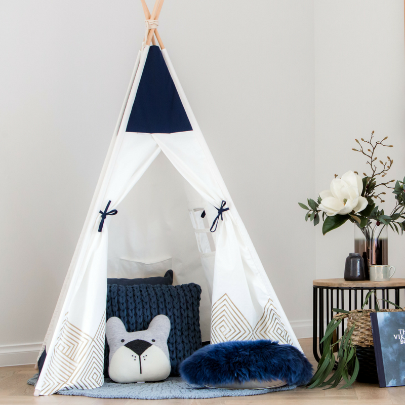 Kids first birthday gift idea kids teepee tent play buy now Blue Teepee
