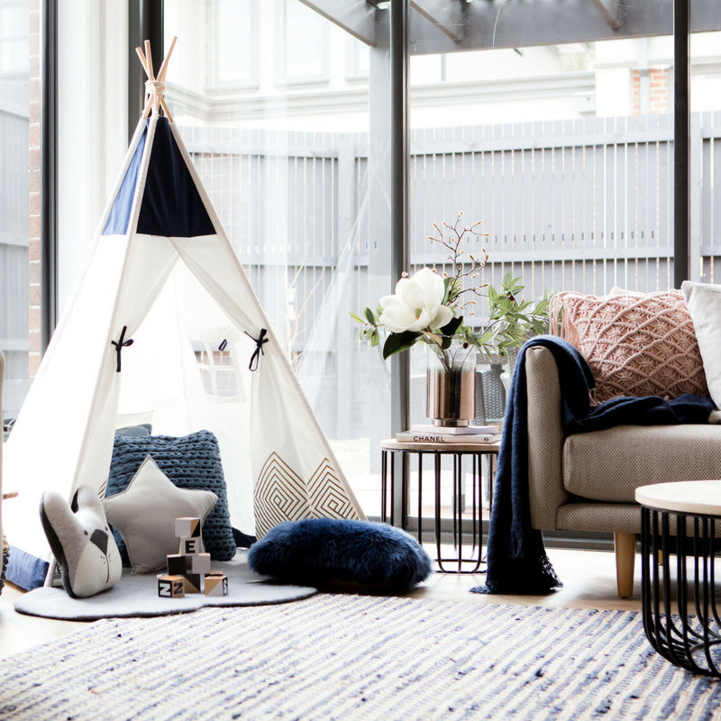 Blue Teepee Tent for boys first birthday gift present cattywampus
