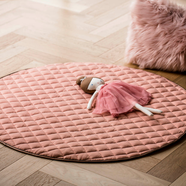 Quilted Cotton Play Mat | Dusty Pink