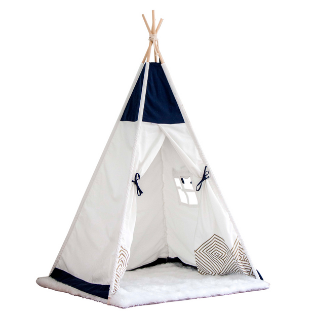 Gold Cloud Navy Blue Teepee Tent bundle with enchanted square white fluffy playmat gift set for birthday kids