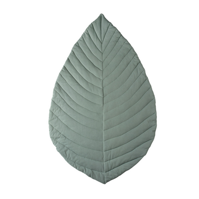 Cattywampus jade green sage leaf playmat quilted cotton jersey with soft filling