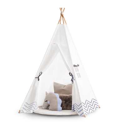 Kids Teepee Tent | White & Grey Teepee