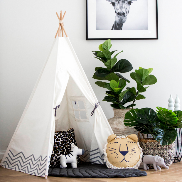 White & Grey Teepee - Pearly Moon