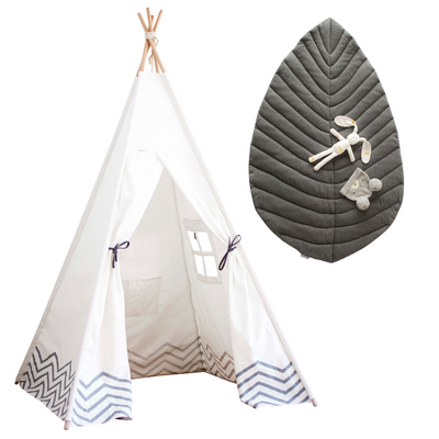 Pearly Moon and Opal Leaf Gift set birthday preset for kids white teepee and grey leaf playmat