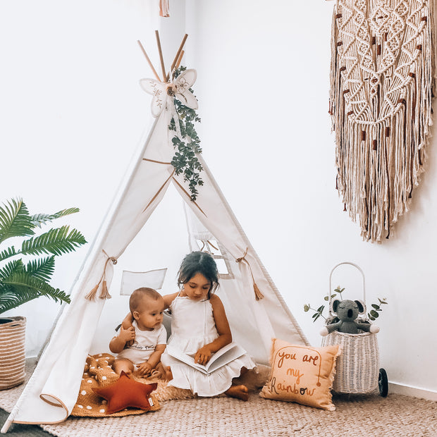 Cattywampus Golden Star Teepee tent with tan leatherette design for boys and girls Christmas Gift Idea