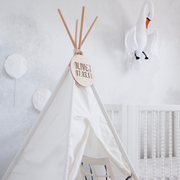 Cattywampus white and grey teepee tent for birthday present and kids gift idea boys and girls