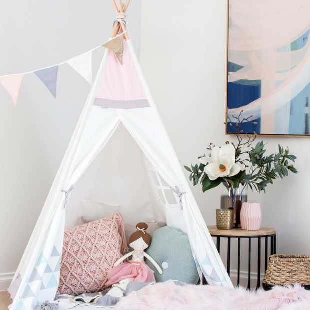 Cattywampus blush sky teepee tent styled pink for girls bedroom