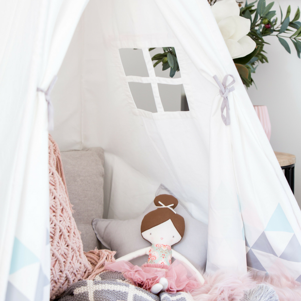 Cattywampus blush sky pink teepee tent with a window