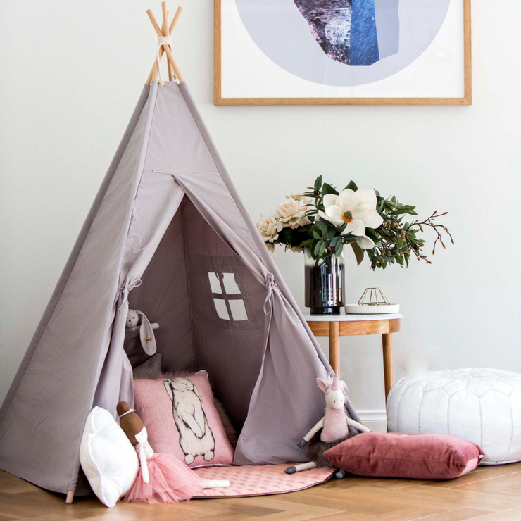 Wild Dove Grey Teepee and Luminous Sun Circle pink playmat gift set for birthday gift for kids