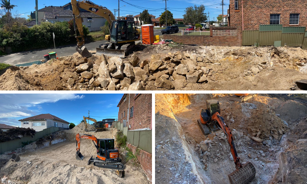 Sydney Excavator: Bulk excavation and detailed excavation carried out by three different excavators in Sydney. The excavators are in the process of removing a large quantity of soil and dirt from a former house demolition site in Sydney.