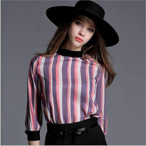 Womens Chiffon Blouses Tops Chiffon Color Stripe Zipper Shirt-[product_tag]-My MALL Metro