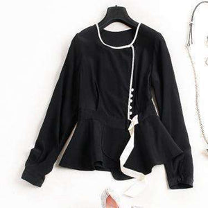 Silk Blouse Women Lightweight Fabric Lace-Up O-Neck Long-Sleeves-[product_tag]-My MALL Metro