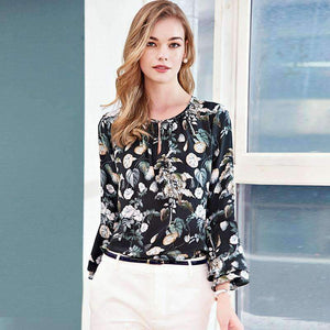 Silk Blouse Women Lightweight Fabric Print Sleeves O-Neck Flare Sleeves Formal Loose Tops-[product_tag]-My MALL Metro