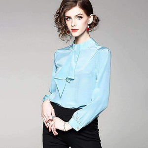 Silk Blouse Women Lightweight Fabric Solid Patchwork Stand Neck Long-Sleeves Formal Tops-[product_tag]-My MALL Metro