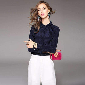 Silk Blouse Women Shirt Solid Ruffles Long-Sleeves Work Top-[product_tag]-My MALL Metro