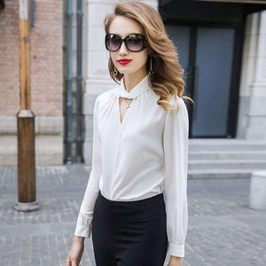 Silk Blouse Women Shirt Hollow-Out O-Neck Long-Sleeve Solid Top-[product_tag]-My MALL Metro