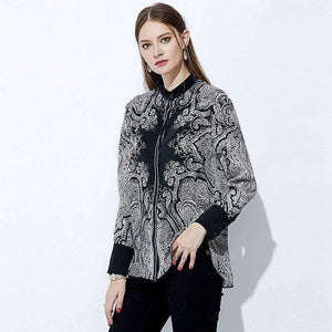 Silk Blouse Women Symmetrical Print O-Neck Long-Sleeves Work Tops-[product_tag]-My MALL Metro
