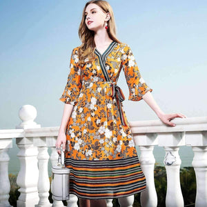 Silk Bohemian Dress Flare-Sleeve Neck Print Floral A-Line Dress-[product_tag]-My MALL Metro
