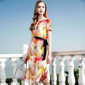 Silk Bohemian Floral Dress Short-Sleeve Print Women A-Line Swing Dress-[product_tag]-My MALL Metro