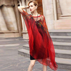 Silk Dress Design Print V-Neck Loose Batwing Sleeves Dress-[product_tag]-My MALL Metro