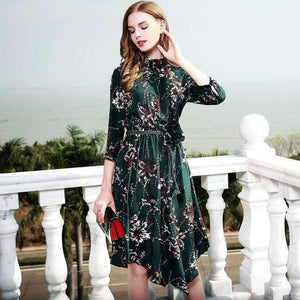 Silk Dress Three-Quarter Sleeve Print Floral Women Bohemian Dress-[product_tag]-My MALL Metro